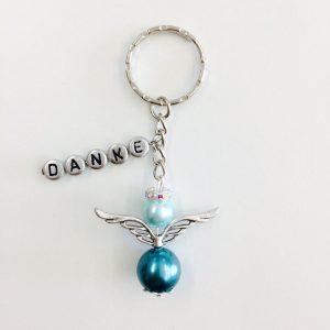 Schlüsselanhänger Schutzengel groß Name in Silber (Personalisiert)