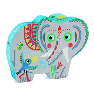 Djeco 7208 Silhouette Puzzle Haathee, asiatischer Elefant
