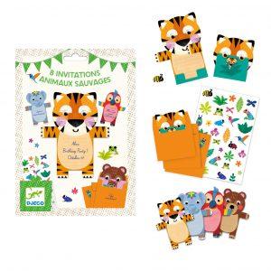 Djeco 4781 Einladungskarten Wilde Tiere