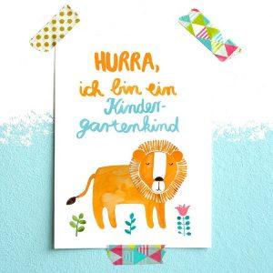Frau Ottilie Postkarte *Kindergarten* (Löwe)