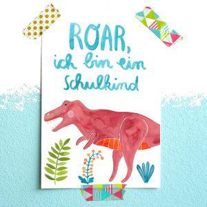 Frau Ottilie Postkarte *Schulkind* (Dinosaurier)