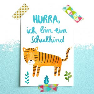Frau Ottilie Postkarte *Schulkind* (Tiger)
