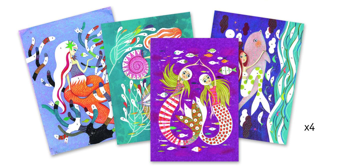Djeco 8507 Glitzerbild Licht der Meerjungfrauen