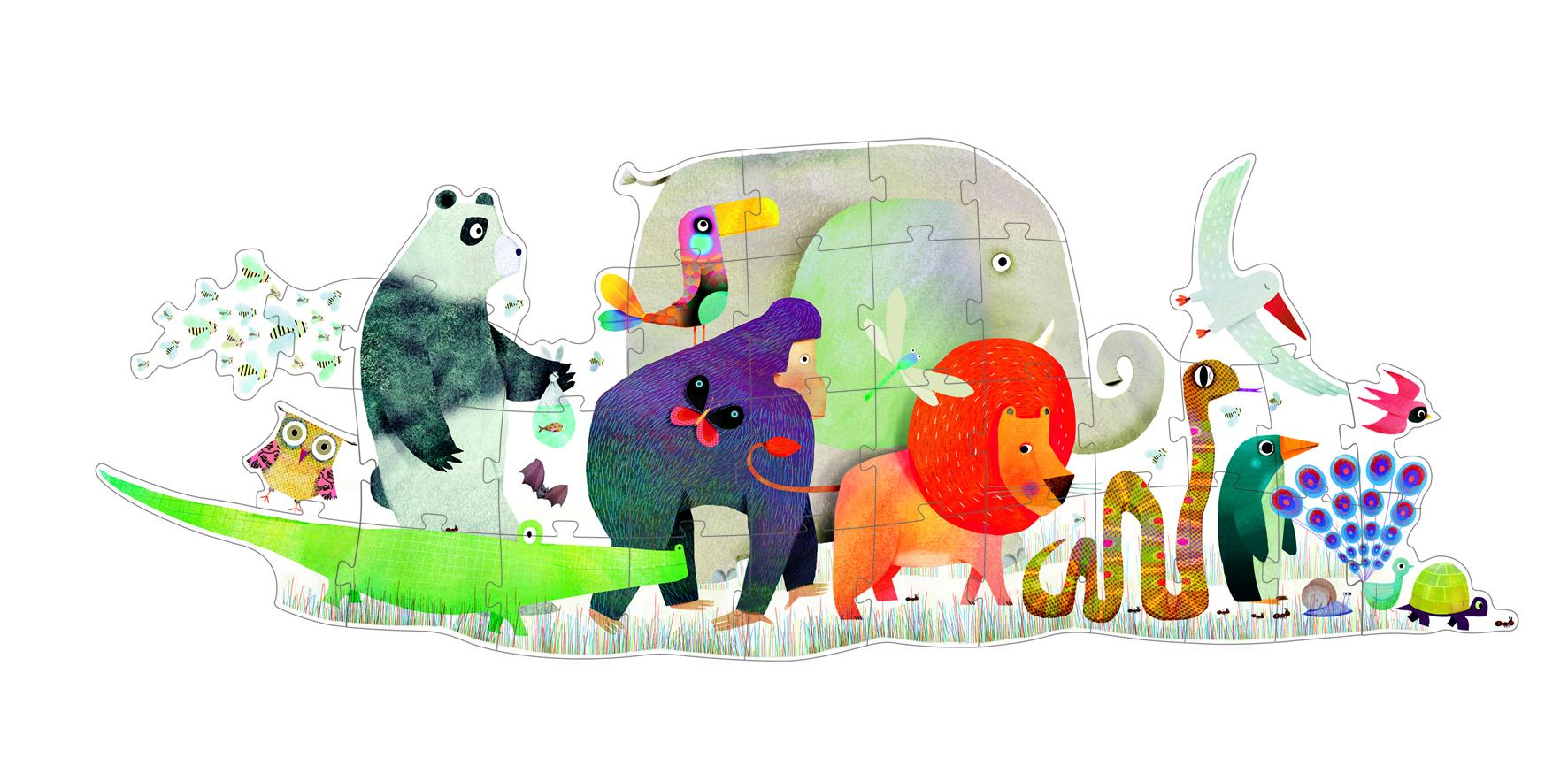 Djeco 7171 Riesen Puzzle Tierparade