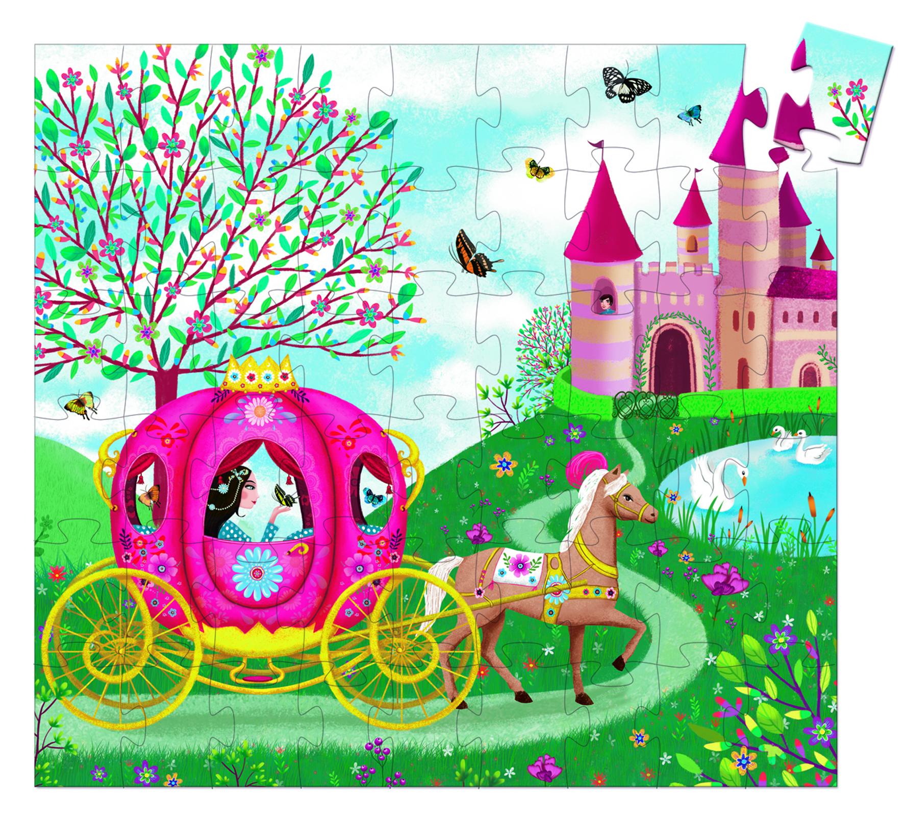 Djeco 7254 Silhouette Puzzle Die Kutsche von Elise