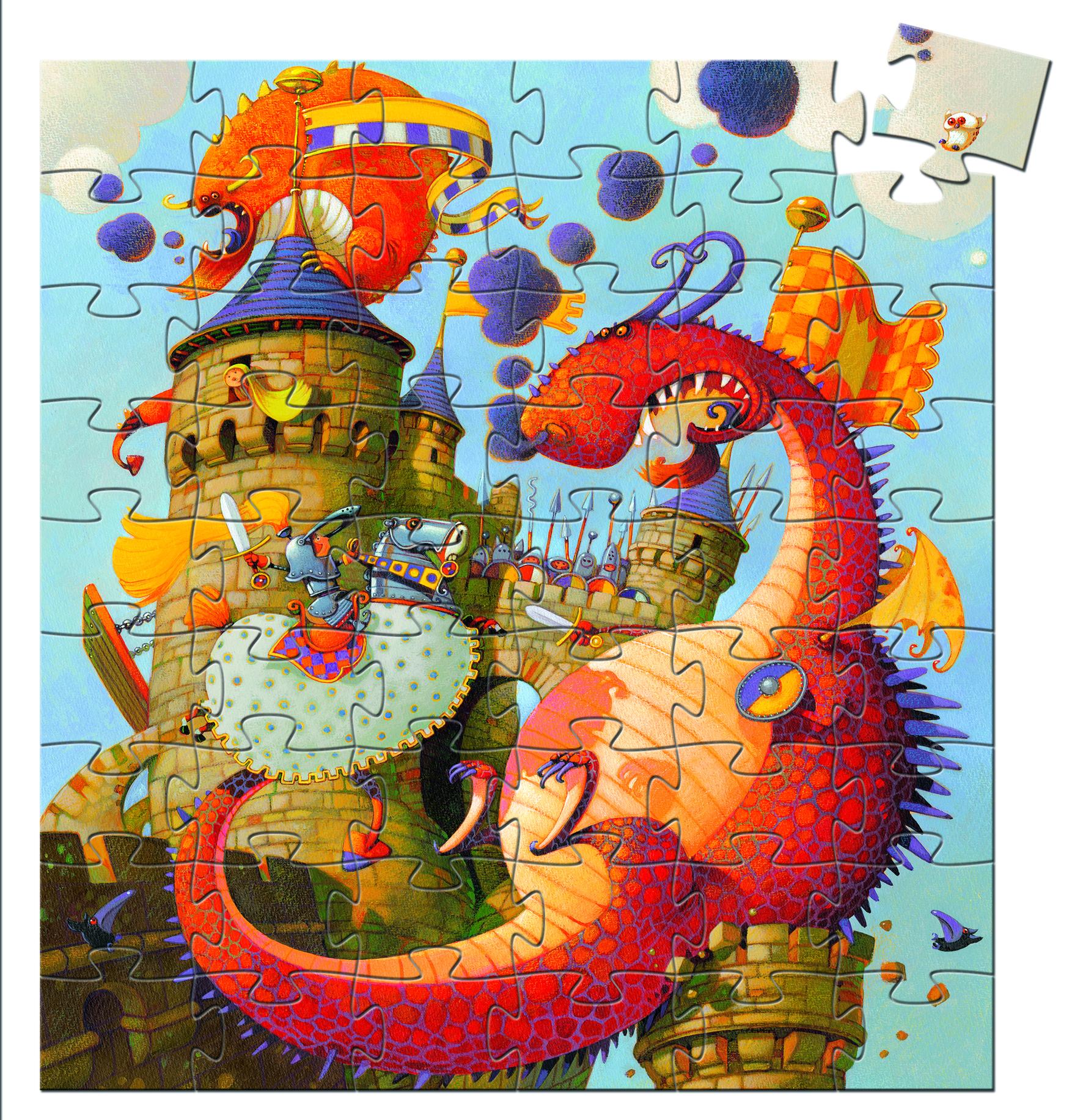 Djeco 7256 Silhouette Puzzle Vaillant und Drache