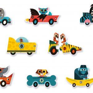 Djeco 8148 Puzzle Duo Autorennen