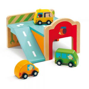 Djeco 6387 Minigarage – Autos aus Holz