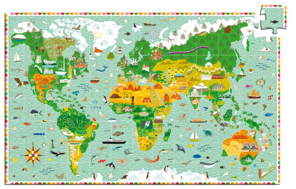 """Djeco 7412 Puzzle Entdecker """"Reise um die Welt"""""""