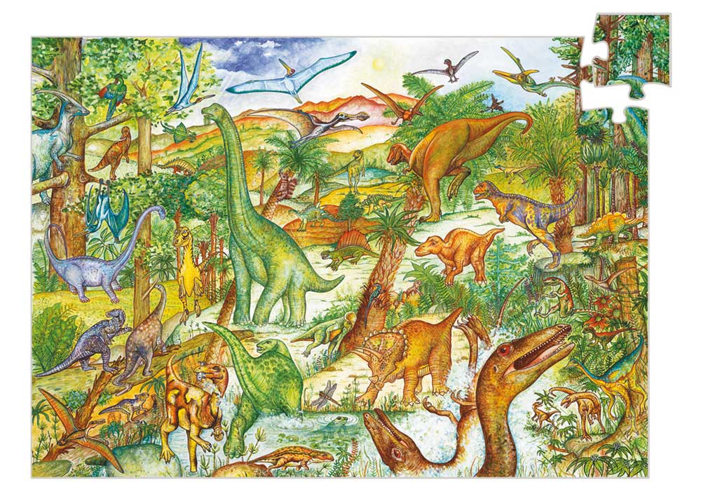 Djeco 7424 Puzzle Dinosaurier 100 Teile