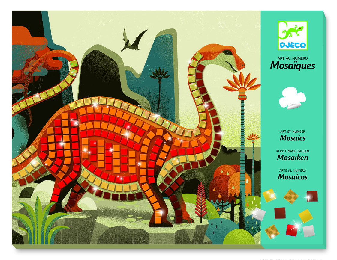 Djeco 8899 Mosaik Bastelset Dinosaurier