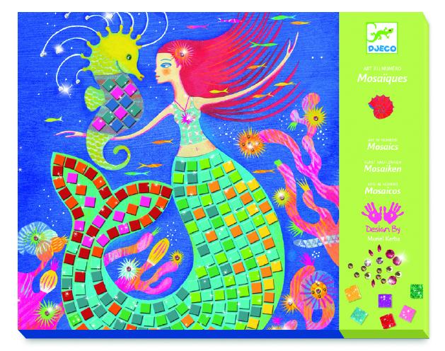 Djeco 9423 Mosaik Bastelset Der Gesang der Meerjungfrauen