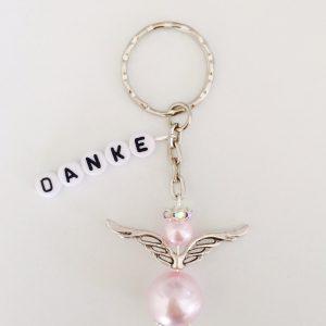 Schlüsselanhänger Schutzengel mit DANKE rosa groß