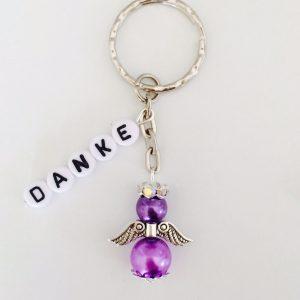 Schlüsselanhänger Schutzengel mit DANKE lila klein
