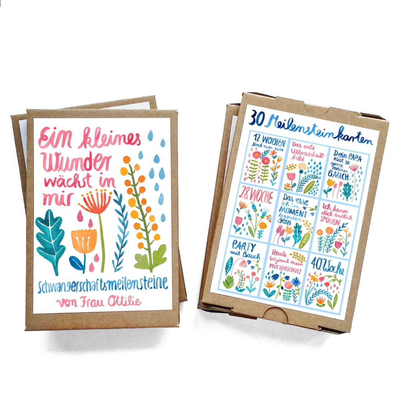 "Frau Ottilie Meilensteinkarten ""Schwangerschaft"""