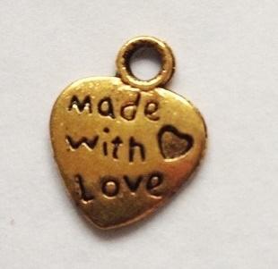 30 Stück Made with love Anhänger gold