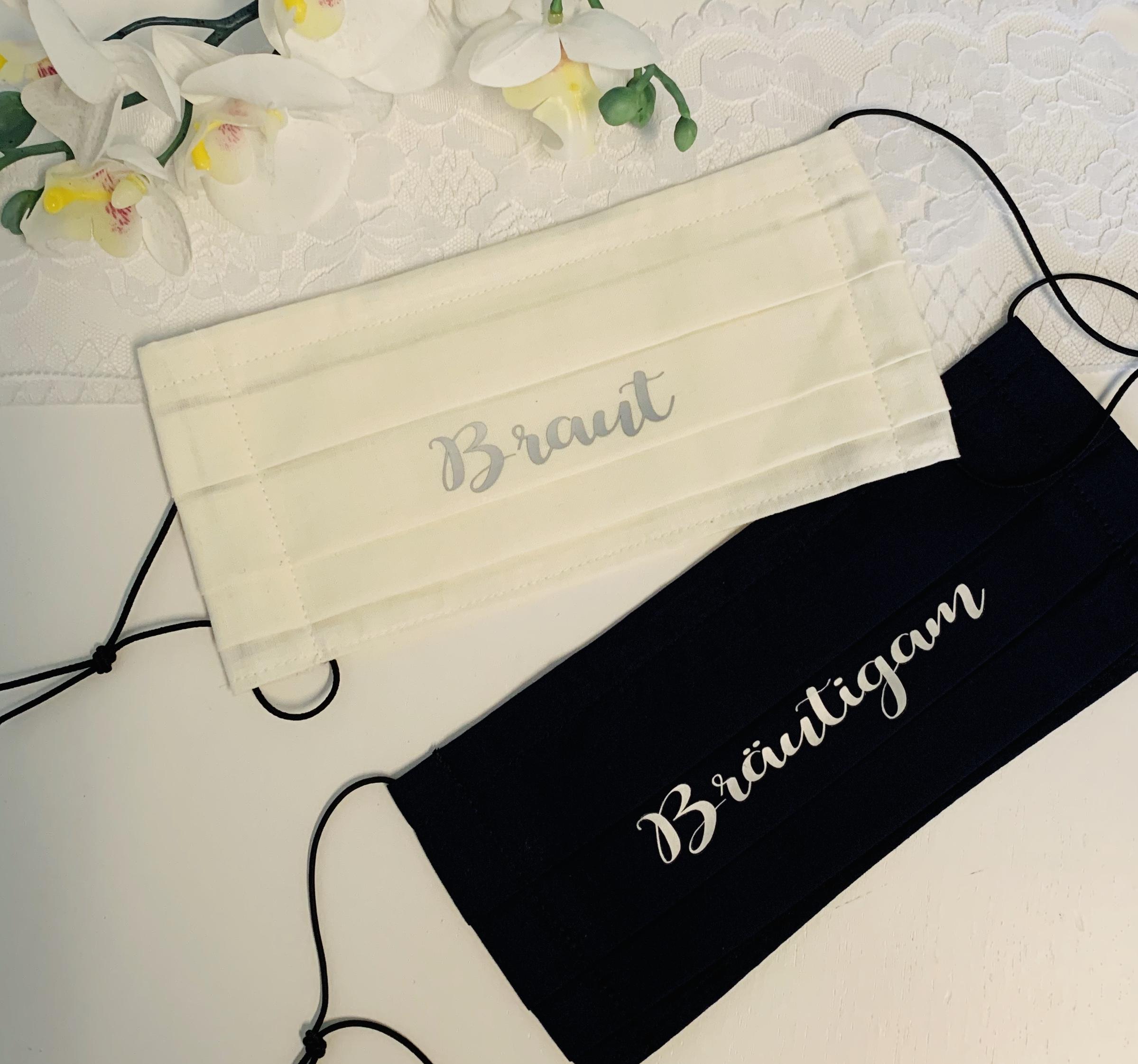 1 Stück Nasen-Mund-Bedeckung für Hochzeit BEDRUCKT