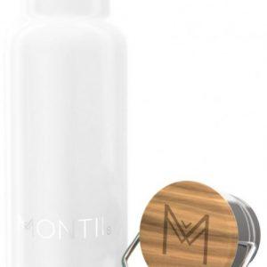 MontiiCo Mini Edelstahl Trinkflasche mit Bambusdeckel, White