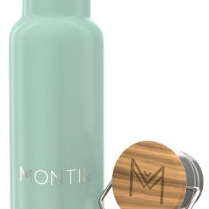 MontiiCo Mini Edelstahl Trinkflasche mit Bambusdeckel, Eucalyptus