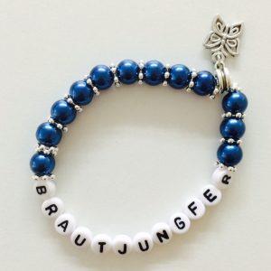 Perlenarmband Brautjungfer blau