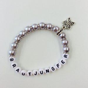Perlenarmband Brautjungfer hellgrau