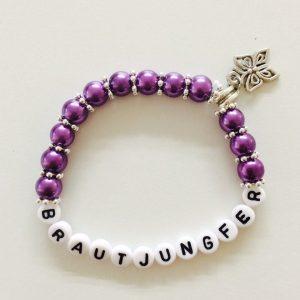 Perlenarmband Brautjungfer lila