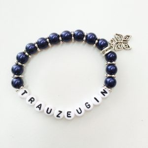 Perlenarmband Trauzeugin dunkelblau