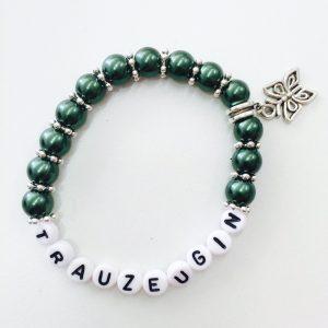 Perlenarmband Trauzeugin dunkelgrün