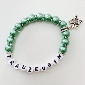 Perlenarmband Trauzeugin grün