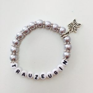 Perlenarmband Trauzeugin hellgrau
