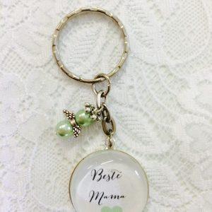 Cabochon Schlüsselanhänger Beste Mama grün