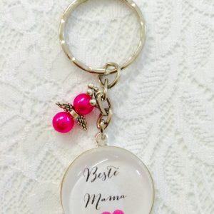 Cabochon Schlüsselanhänger Beste Mama pink