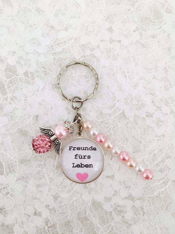 "Cabochon Anhänger ""Freunde fürs Leben"" rosa"