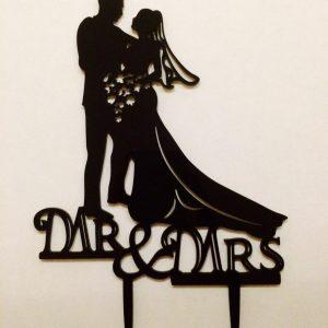 Cake Topper aus Acryl für Torte Brautpaar mit Mr & Mrs