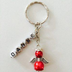 Schlüsselanhänger Schutzengel mit silber DANKE rot klein
