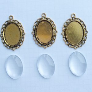 DIY Cabochon Memorial Set oval gold