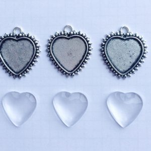 DIY Cabochon Memorial Set Herz