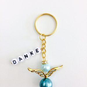 Schlüsselanhänger Schutzengel groß mit DANKE Blautöne (gold)