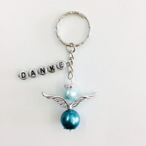 Schlüsselanhänger Schutzengel groß mit silber DANKE Blautöne (silber)