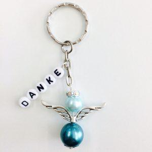 Schlüsselanhänger Schutzengel groß mit DANKE Blautöne (silber)