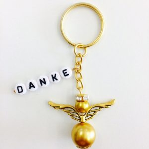 Schlüsselanhänger Schutzengel groß mit DANKE gold (gold)