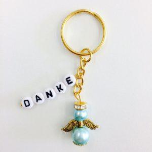 Schlüsselanhänger Schutzengel klein mit DANKE hellblau (gold)