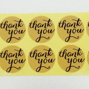 10 Stück Etiketten THANK YOU rund