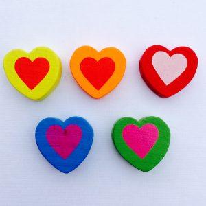 5 Stück Holzperlen Herz