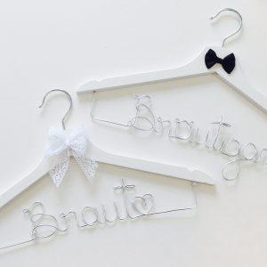 Kleiderbügel-Set Braut & Bräutigam silber