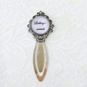Cabochon Lesezeichen silber rund