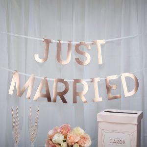 Just Married Girlande roségold/kupfer