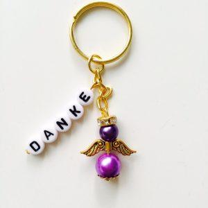 Schlüsselanhänger Schutzengel gold mit DANKE lila