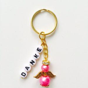 Schlüsselanhänger Schutzengel gold mit DANKE pink
