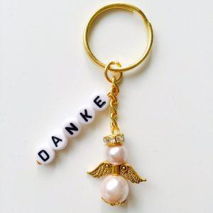 Schlüsselanhänger Schutzengel gold mit DANKE rosa